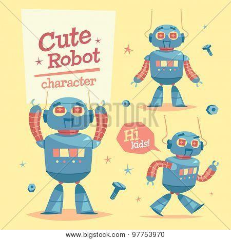 Cartoon robot character. Vector illustration.