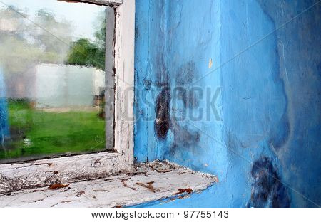 Toxic mold growing on the wall in the room next to the window poster