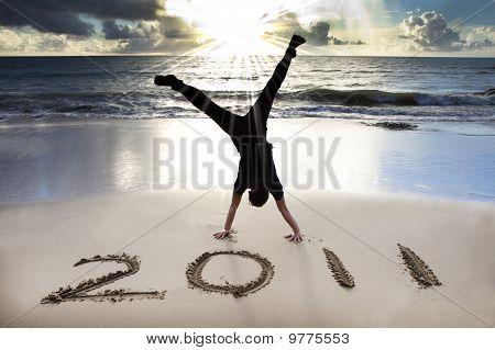 feliz ano novo 2011 na praia do nascer do sol