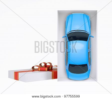Car in gift box on white