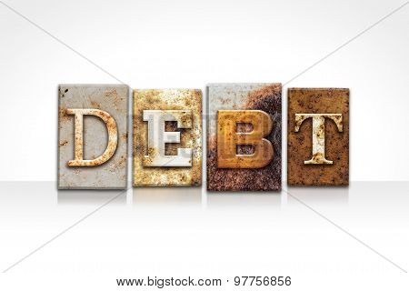 Debt Letterpress Concept Isolated On White