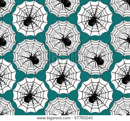 Web and spiders seamless pattern.Wildlife background. Halloween holiday ornament