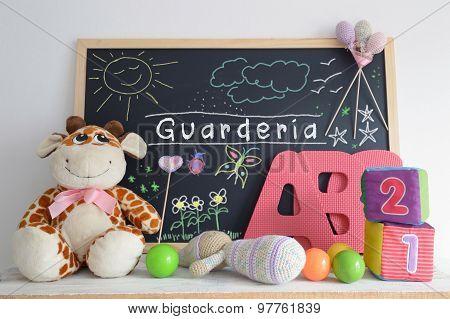Blackboard in a kindergarten classroom.