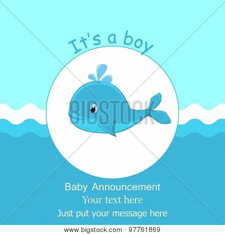 Whale Baby Shower It's a boy card design Baby shower invitation template