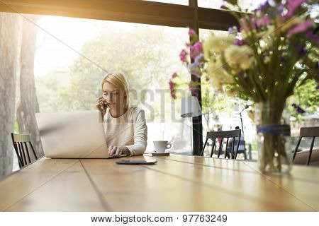 Gorgeous business woman having cell phone conversation while sitting front open laptop computer