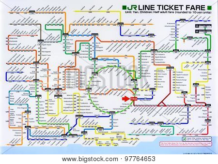 TOKYO, JAPAN - JULY 29, 2015: Train map of the Japan Railways lines around Tokyo. JR lines are considered the heart of Japan's extensive rail network.