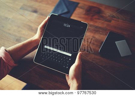 Hipster man hands holding digital tablet with empty blank screen for your text message