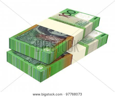 Australian dollar isolated on white background. Computer generated 3D photo rendering.