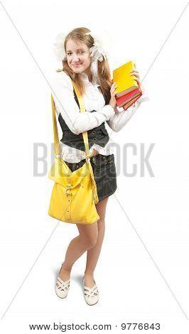 Schoolgirl With Books And Schoolbag