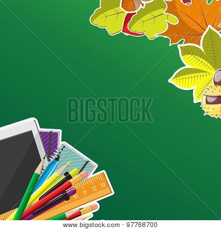 Autumn background with wreath from leaves, seeds, nuts and school supplies. Flat vector illustration