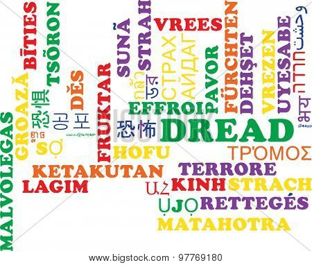 Background concept wordcloud multilanguage international many language illustration of dread