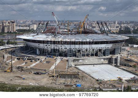 Top View Of Construction Sports Facilities, New Modern Football Stadium