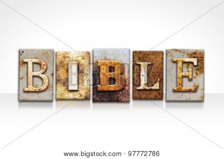 Bible Letterpress Concept Isolated On White