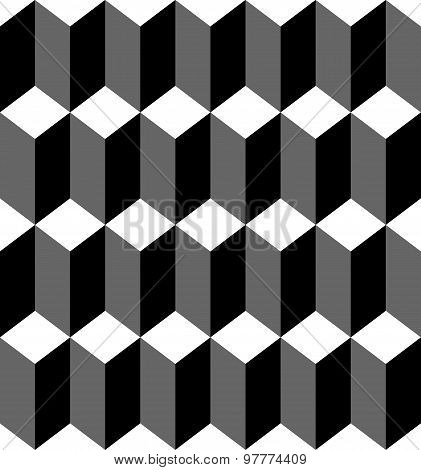Black And White Geometric Seamless Pattern With Trapezoid And Diamond, Abstract Background.