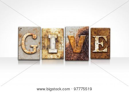 Give Letterpress Concept Isolated On White