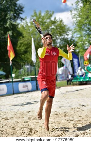 MOSCOW, RUSSIA - JULY 16, 2015: Antomi Ramos-Viera of Spain in the match of the Beach Tennis World Team Championship against San Marino. Spain won the match 3-0