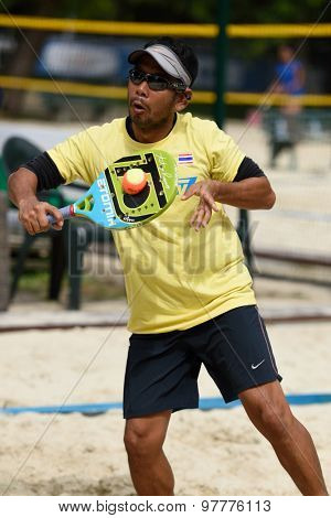 MOSCOW, RUSSIA - JULY 17, 2015: Suwijak Manoch of Thailand in the match of the ITF Beach Tennis World Team Championship against Bulgaria. Bulgaria won the match 3-0