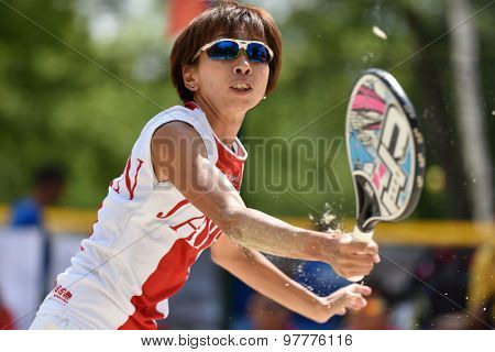 MOSCOW, RUSSIA - JULY 16, 2015: Kaori Yanase of Japan in the match of the ITF Beach Tennis World Team Championship against Morocco. Japan won 3-0