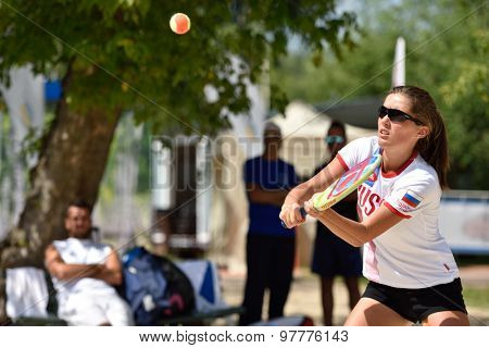 MOSCOW, RUSSIA - JULY 16, 2015: Julia Chubarova of Russia in the match of the ITF Beach Tennis World Team Championship against Greece. Russia won 3-0