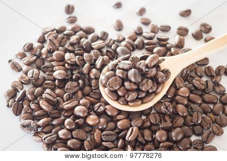 Spoon Of Roasted Coffee Bean