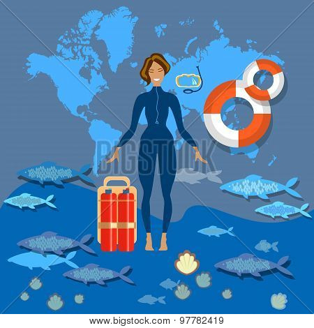 Diving Tourism, World Diving, Swimming, Suit Smile, Lifebuoy, Slim, Girl, Woman, Tropical