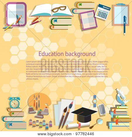 Education Background Back To School University College Institute Learning Math Textbooks Pencils