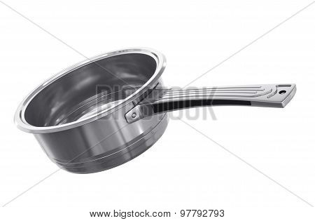 Stewpot Of Steel On The White Background.