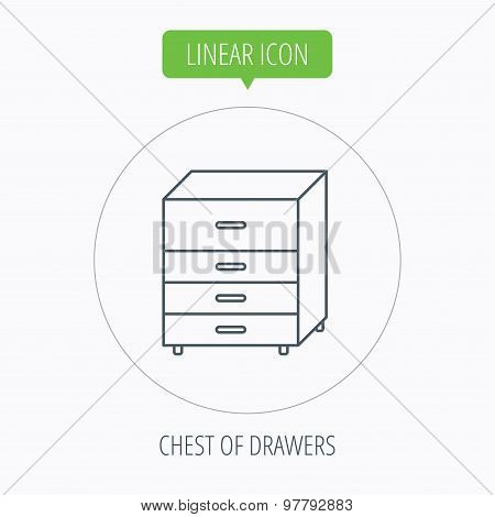 Chest of drawers icon. Interior commode sign. Linear outline circle button. Vector poster