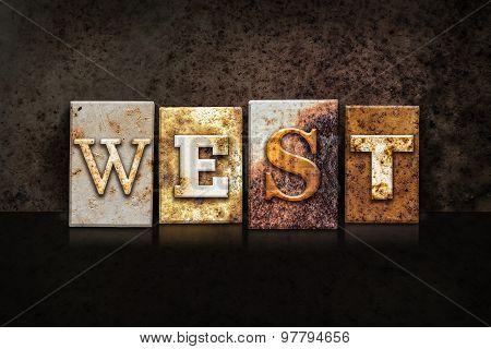 West Letterpress Concept On Dark Background
