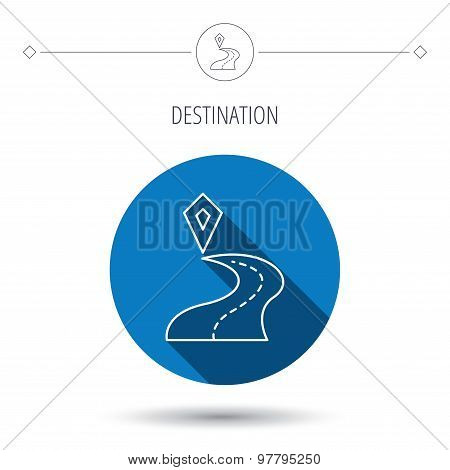Destination pointer icon. Road location sign. Blue flat circle button. Linear icon with shadow. Vector poster