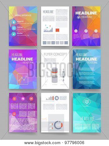 Brochure design template set. Templates. Design Set of Web, Mail, Brochures. Modern flat and line ic