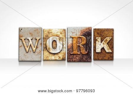 Work Letterpress Concept Isolated On White