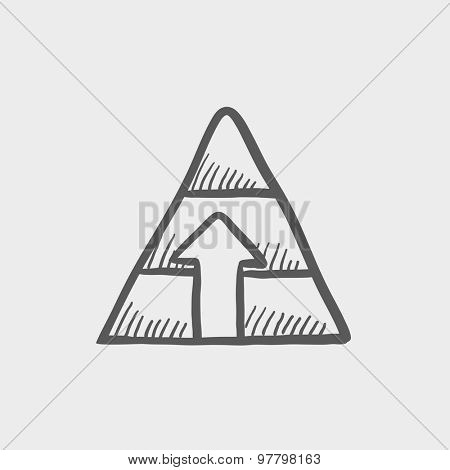 Pyramid with arrow up sketch icon for web and mobile. Hand drawn vector dark grey icon on light grey background.