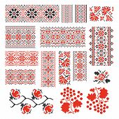 Ukrainian ethnic national seamless patterns vector set. Embroidery stitch.  Traditional ornament, ukraine geometric, floral red design illustration poster