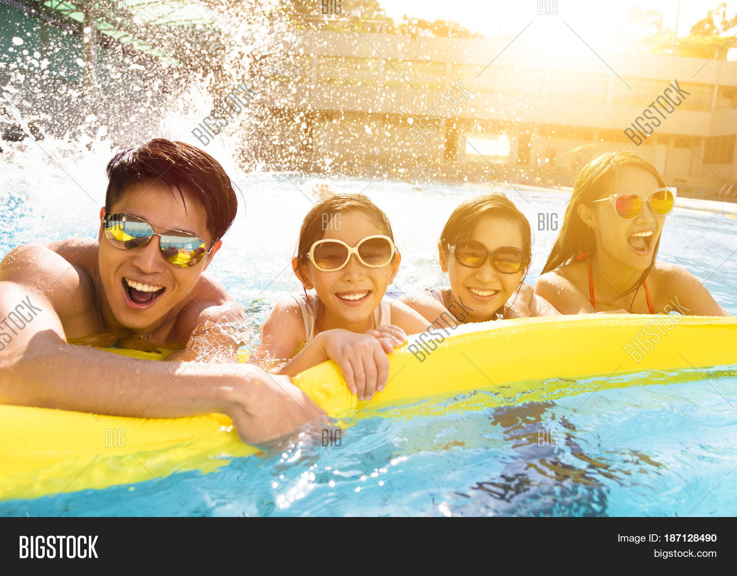 happy asian family playing swimming image photo bigstock