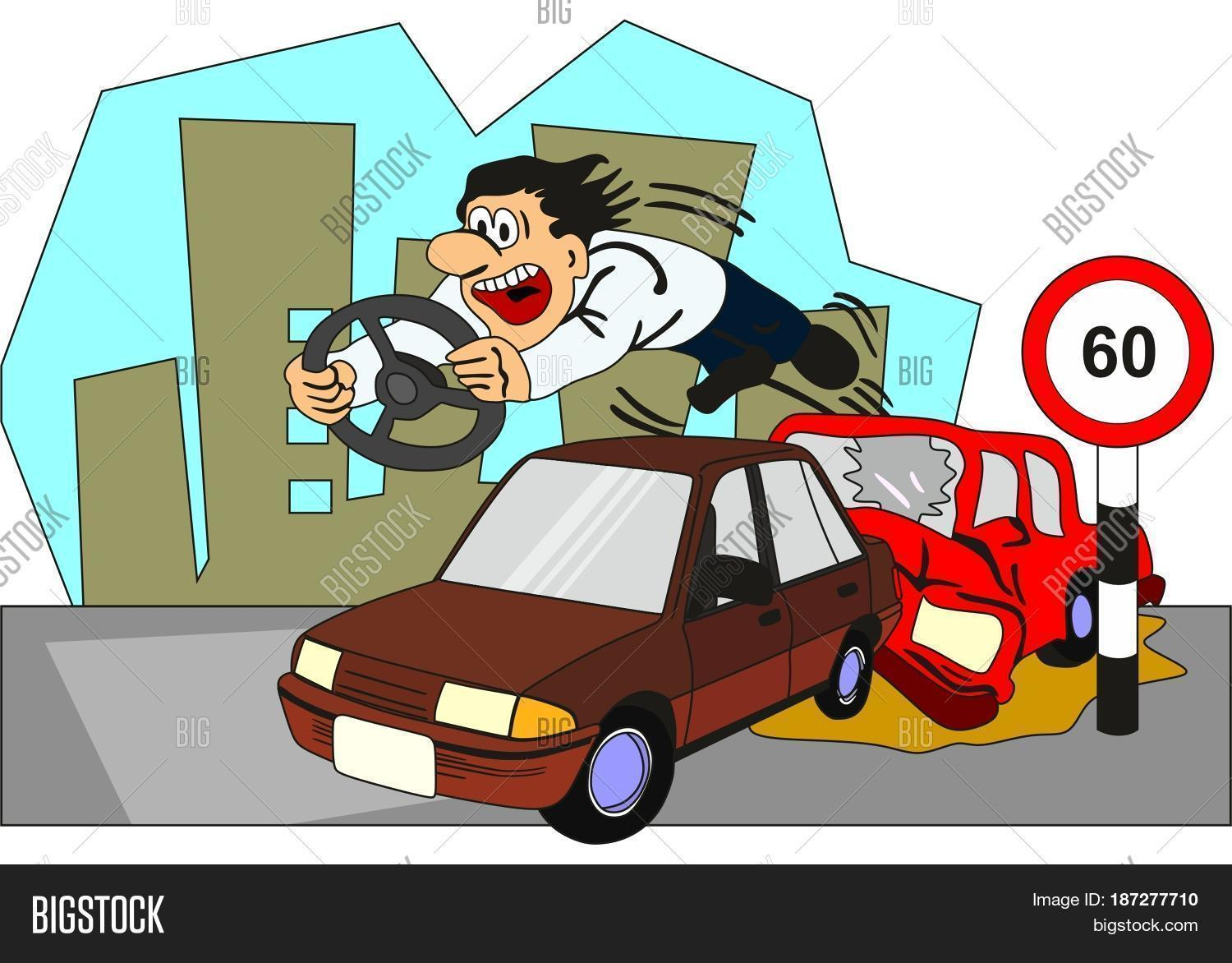 Car Accident Conceptual Drawing Image & Photo | Bigstock