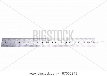 Metal Ruler. Metal ruler isolated on white background