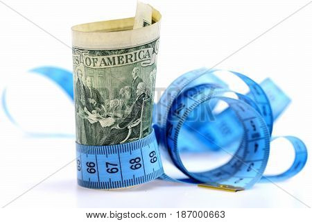 Inflation Concept With Measure Tape And Dollar Banknote