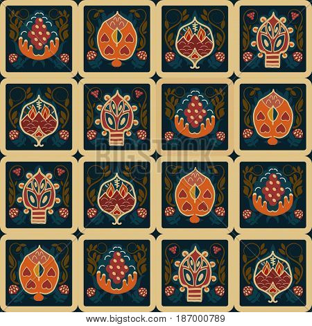 Vintage seamless ethnic pattern with tropical flowers in the squares. Basis for paper fabrics and desktop Vector illustration.
