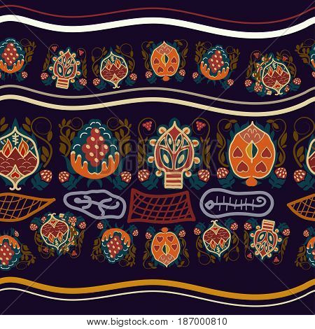 Vintage seamless ethnic pattern with fantastic flowers. Basis for paper fabrics and desktop Vector illustration.