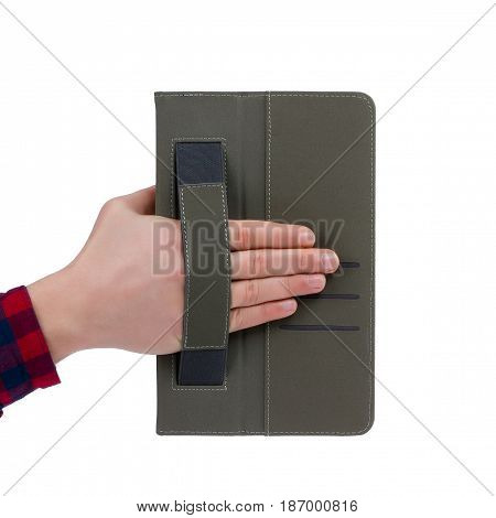 Case for tablet to hold on isolated white background.