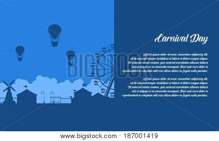 Background of amusement park scenery silhouette vector flat