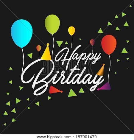 Fun Happy birthday greeting card with baloon