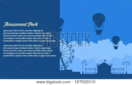 Vector flat amusement park background collection stock