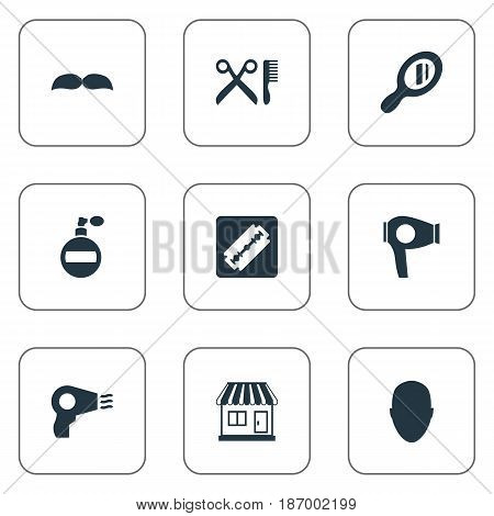Vector Illustration Set Of Simple Beautician Icons. Elements Reflector, Beard, Shaver And Other Synonyms Smell, Shop And Aroma.
