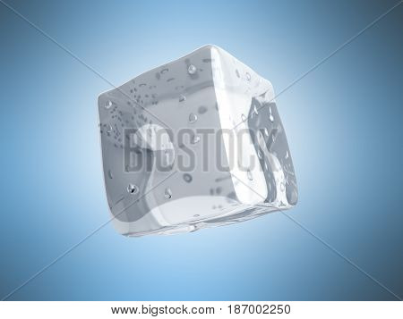 Ice Cube 3D Render On Blue Background