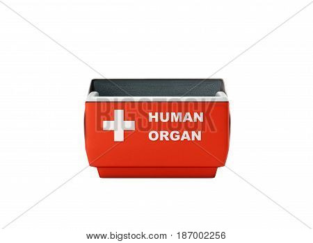 Open Human Organ Refrigerator Box Red 3D Render No Shadow