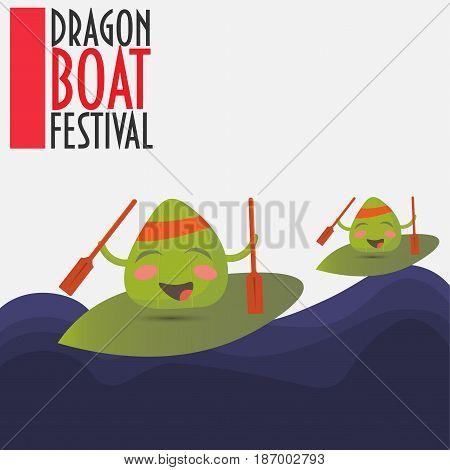 Duanwu Festival Promotion Vector Illustration: two happy zongzi dumplings characters racing on a big leaves. Dragon boat Race.