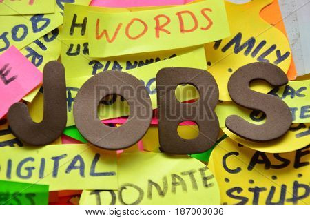 word jobs on a  abstract colorful background