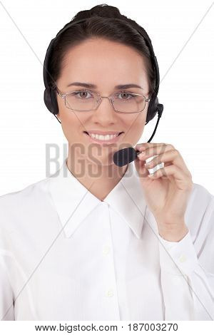 Call center woman female friendly talking on headset helpdesk customer service